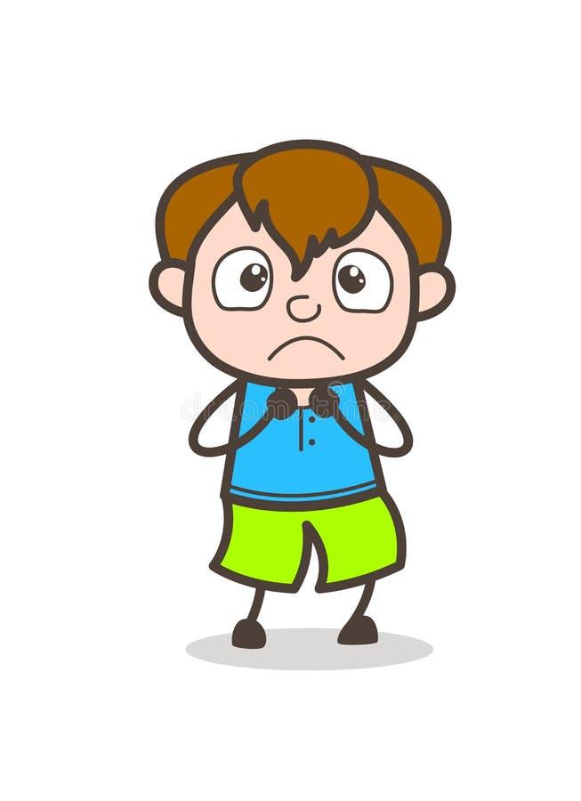 Cara temível da criança - ilustração bonito do menino dos desenhos animados ilustração royalty free