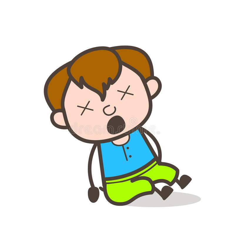 Cara tonto e gritando - ilustração bonito do menino dos desenhos animados ilustração stock