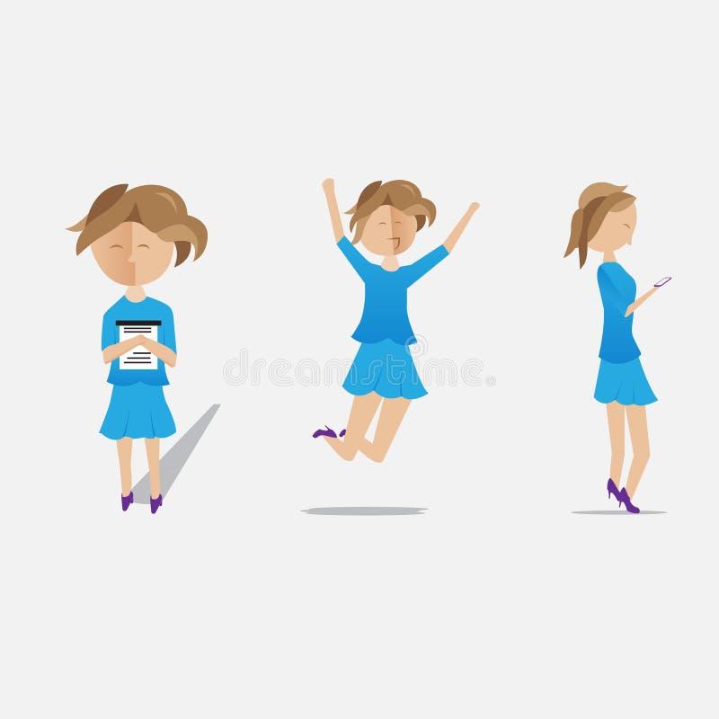Cara tranquila feliz azul del emoji de la secretaria fotos de archivo