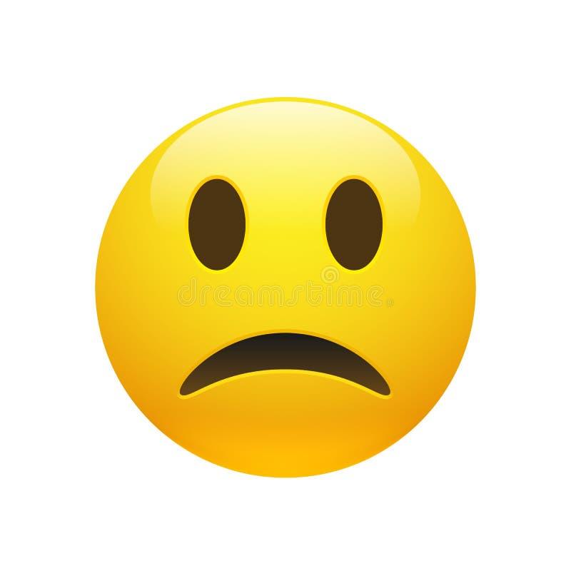 Cara triste amarela de Emoji do vetor ilustração stock