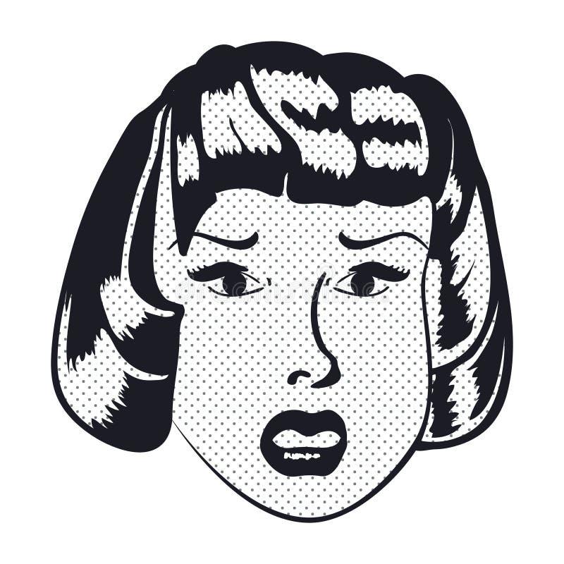 Cara triste da mulher com boca aberta Vetor ilustração do vetor