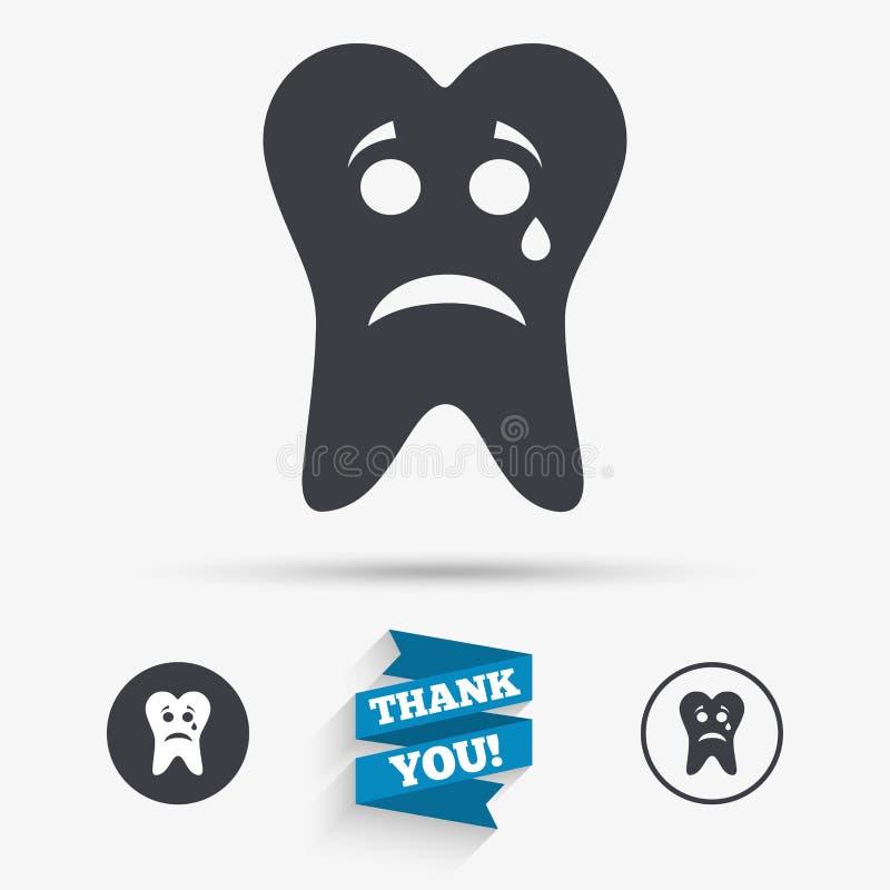 Cara triste do dente com ícone do sinal do rasgo Dente de dor ilustração stock