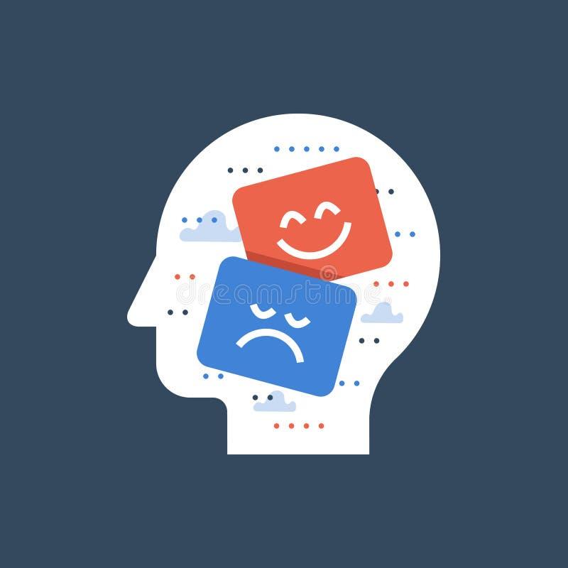 Cara triste y feliz inteligencia y del concepto emocional, del teatro, sensaciones de pensamiento, malas y buenas positivas de la libre illustration