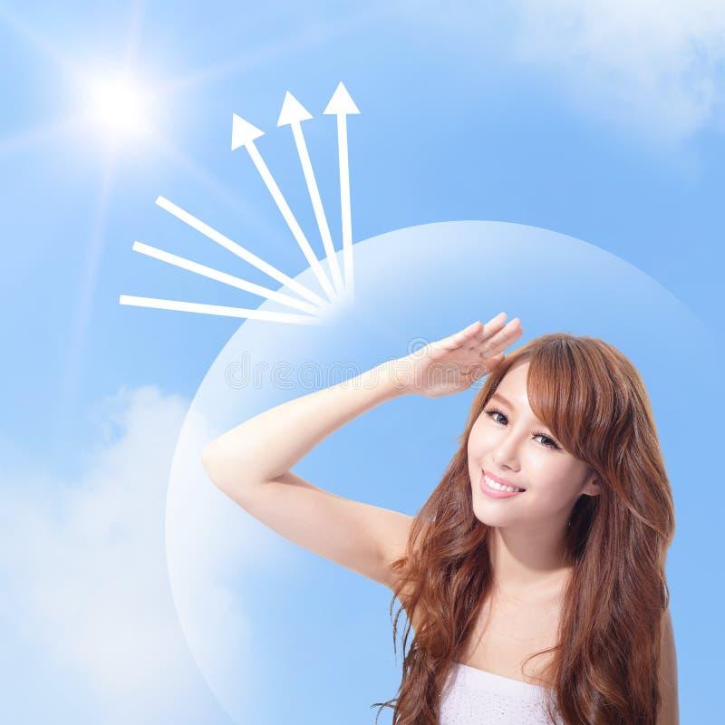 Cara UV do cuidado e da mulher com luz do sol foto de stock royalty free