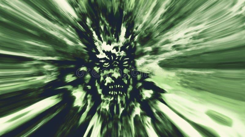 Cara verde do zombi da raiva imagem de stock