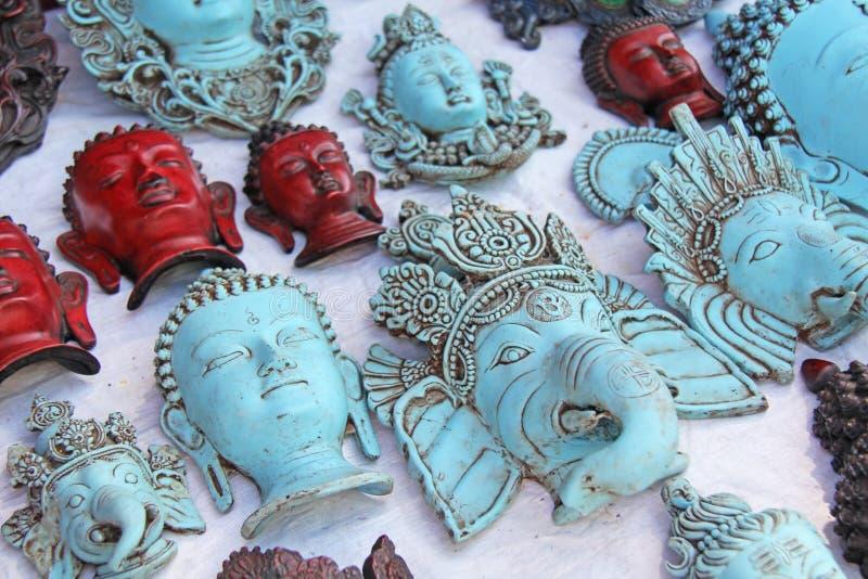 A cara vermelha da Buda é o Ganesha azul no mercado de imagem de stock royalty free