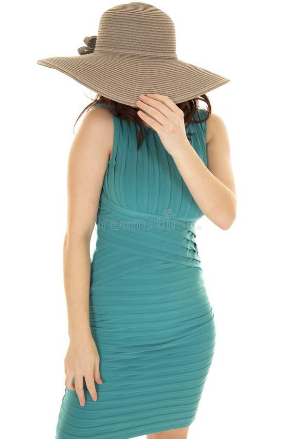 Cara vermelha da tampa do chapéu de vestido do verde do cabelo da mulher imagens de stock