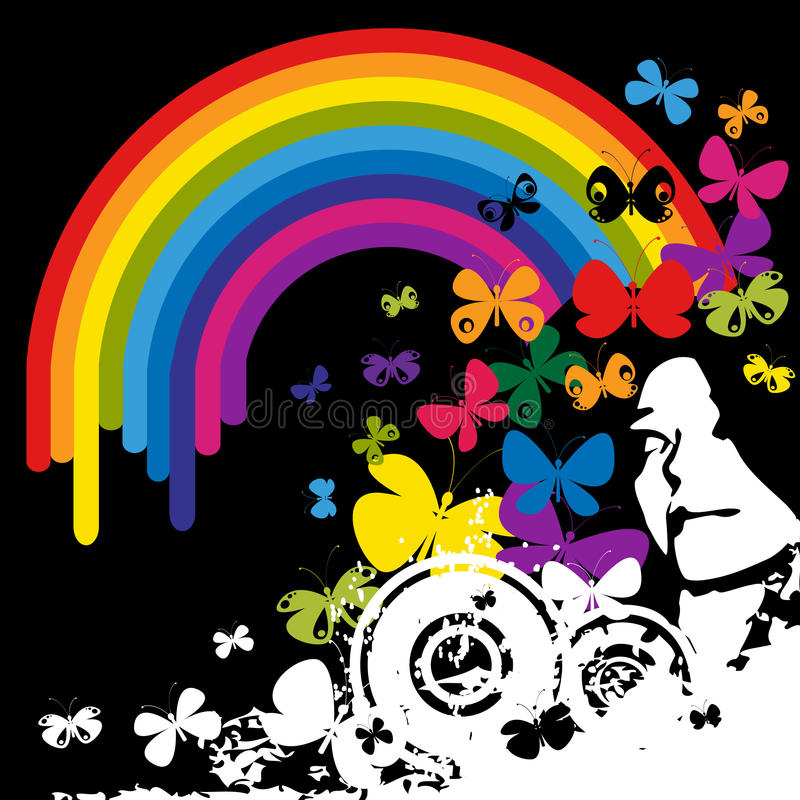 Cara y arco iris libre illustration