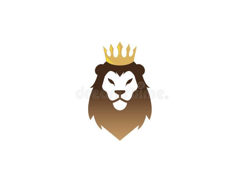 Cara y cabeza del león con el logotipo de oro de la corona ilustración del vector