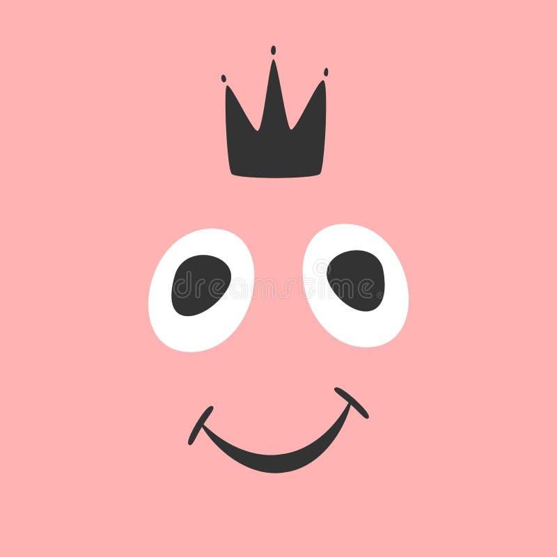Cara y corona sonrientes divertidas Dibujado a mano, bosquejo Impresión femenina, cartel, tarjeta, bandera, etiqueta engomada ilustración del vector