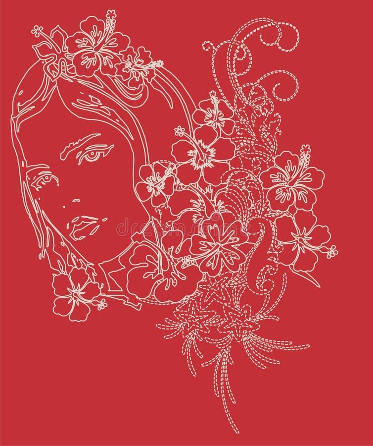 cara y flor ilustración del vector