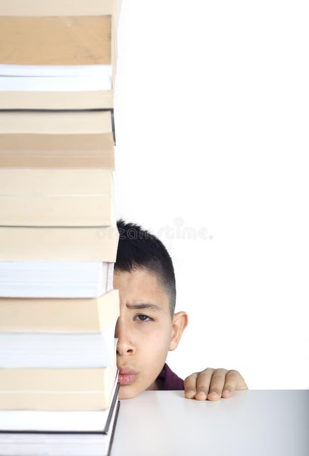 Cara Y Libros Del Estudiante De La Preocupación Imagen de archivo
