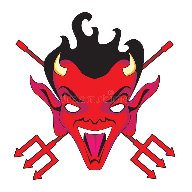 Cara y pitchforks del diablo libre illustration