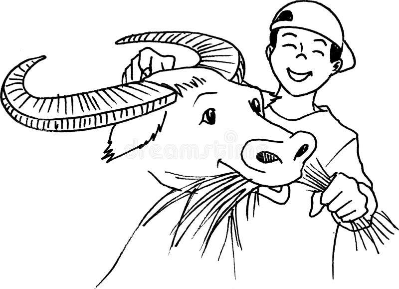 Carabao Feeding stock illustration. Image of jubilant ...