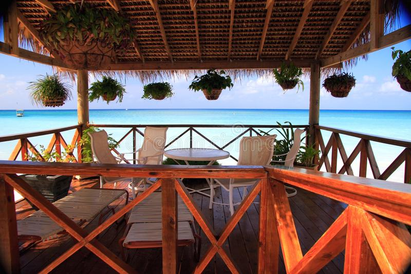 carabbean θάλασσα patio παράβλεψης στοκ εικόνες