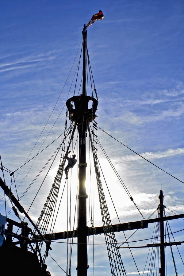 Carabelaschip Santa Maria, Christopher Columbus Ship-detail royalty-vrije stock foto