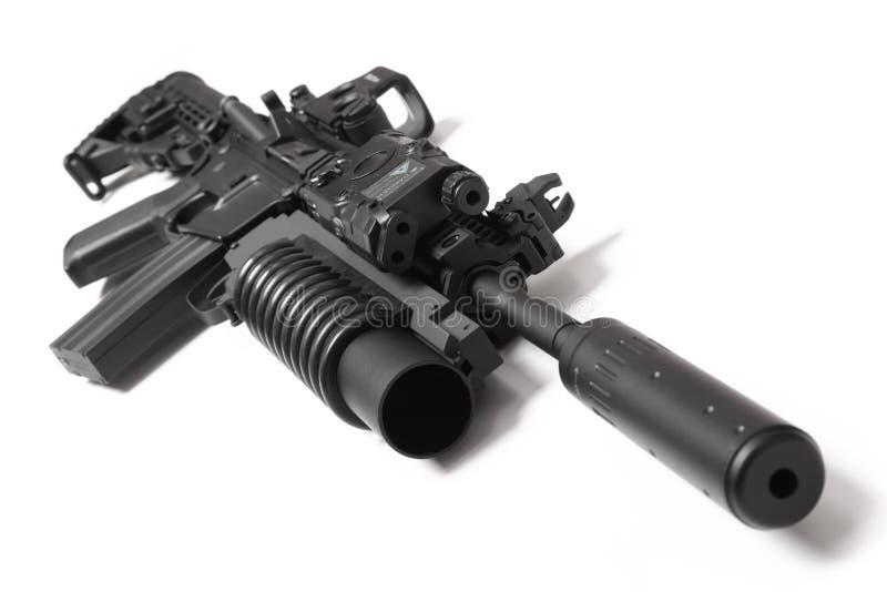 Carabina del asalto de los E.E.U.U.M4A1 con el lanzagranadas foto de archivo libre de regalías