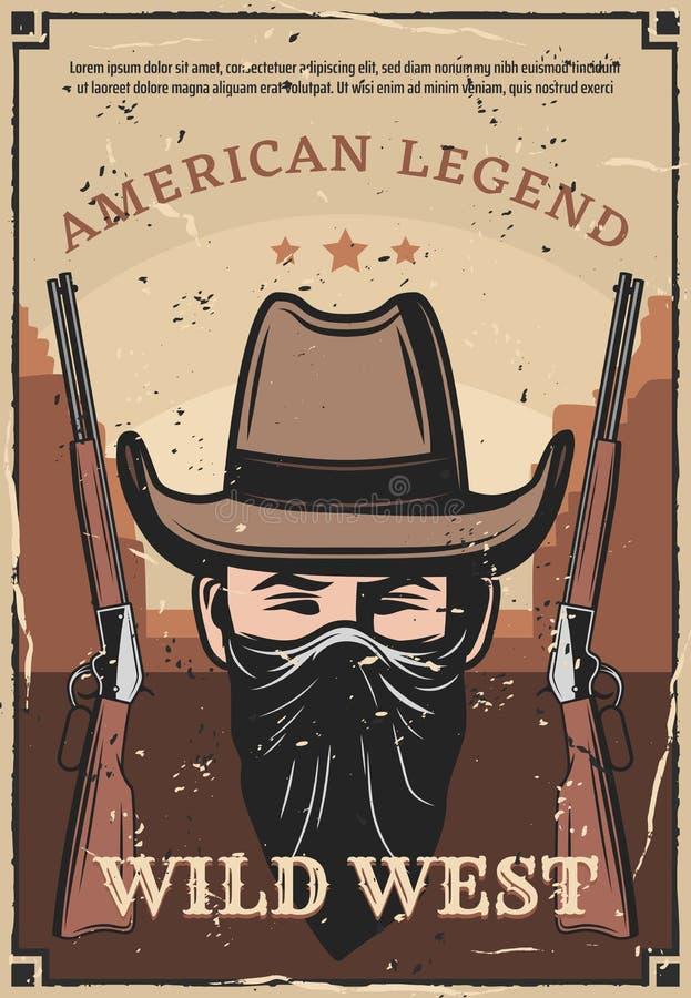 Carabine occidentale occidentale sauvage de bandit et de fusil illustration libre de droits