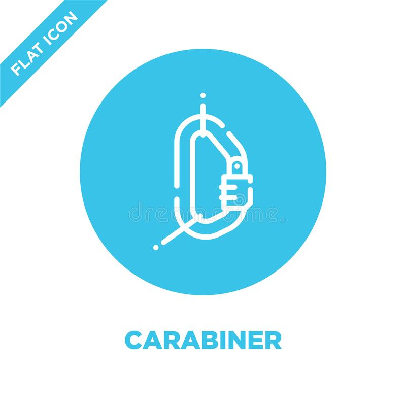 carabiner从野营的收藏的象传染媒介 稀薄的线carabiner概述象传染媒介例证 r 库存例证