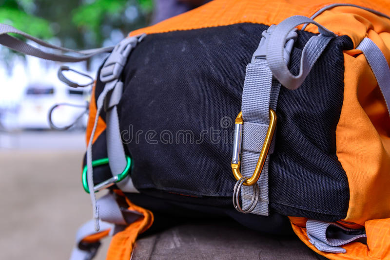 Carabiner hang with bag bottom royalty free stock images