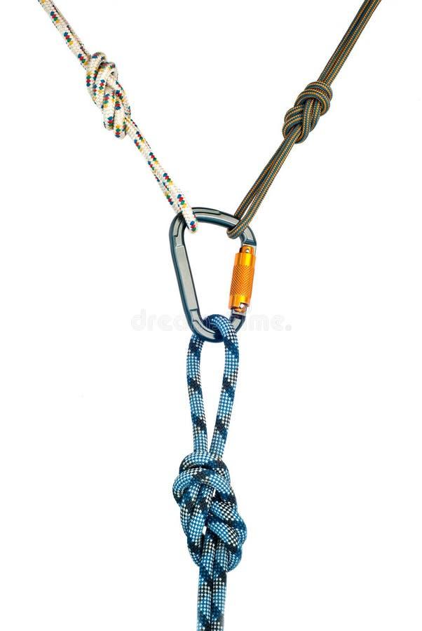 Carabiner und drei Seile lizenzfreies stockfoto