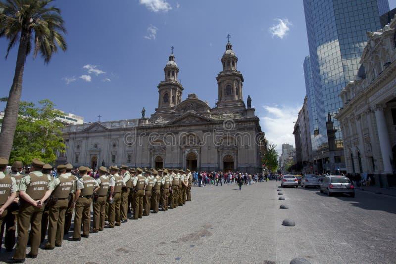 Carabineros in parade in Plade de Armas, Santiago stock images