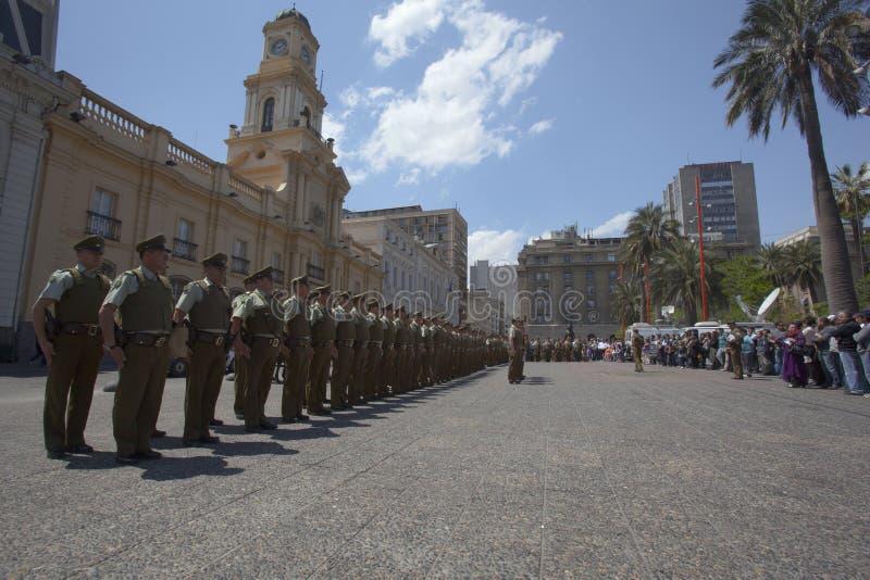 Carabineros parade in Plaza de Armas, Santiago stock photo