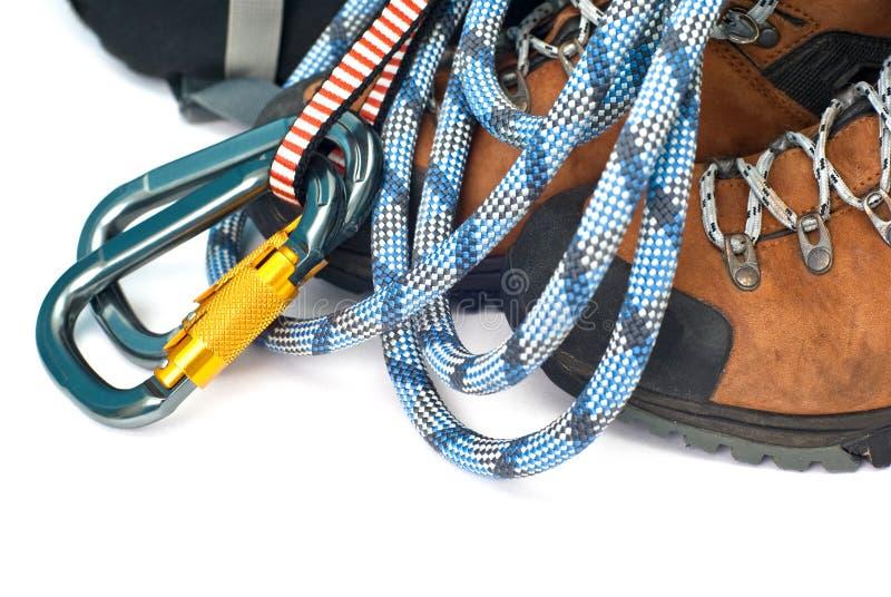 carabiners μποτών που αναρριχούντα&io στοκ φωτογραφία