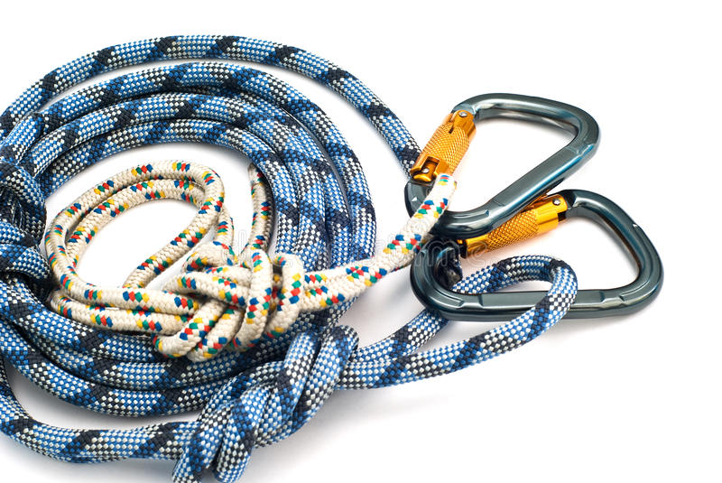 Download Carabiners Without Scratches And Blue Rope Stock Photo - Image: 10731108