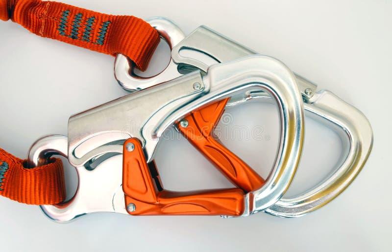 carabiners som klättrar utrustningsäkerhet royaltyfri fotografi