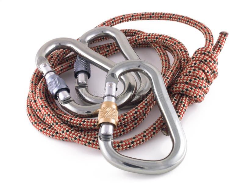 Carabiners y cuerda fotografía de archivo libre de regalías