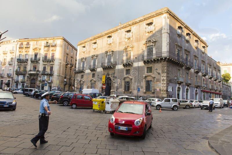 Carabinieri driving the traffic in Catania stock photos