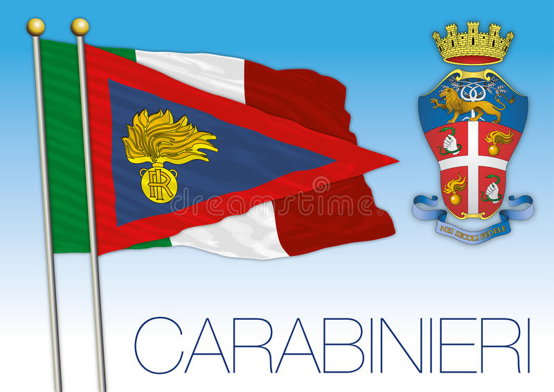 Carabinieri, insegna e bandiera della Repubblica italiana royalty illustrazione gratis