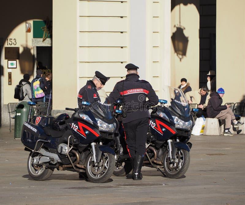 Carabinieri Italiaanse militaire kracht in Turijn stock foto