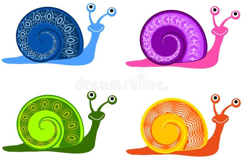 Caracóis coloridos dos desenhos animados ilustração stock