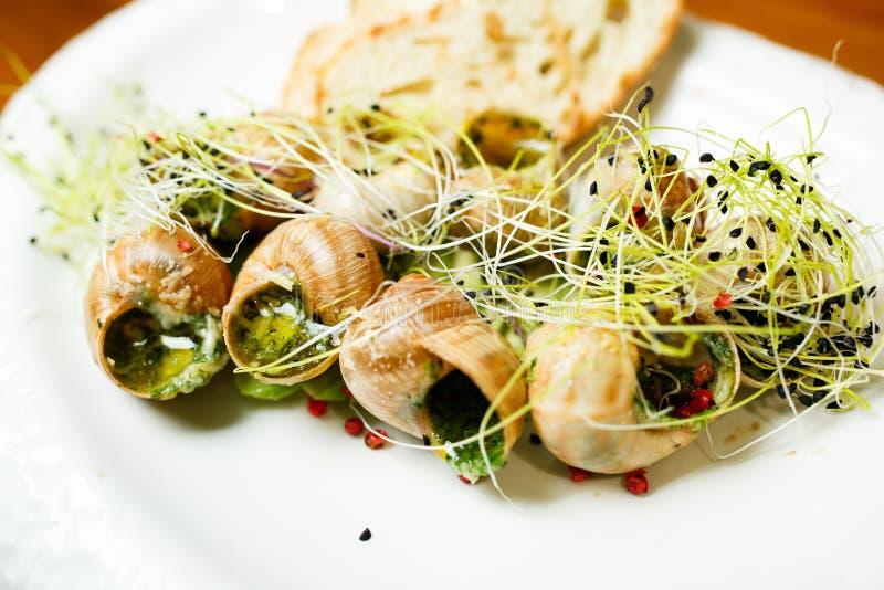 Caracóis franceses clássicos preparados de Borgonha do escargot dos alimentos com espinafres Escargot de Bourgogne fotos de stock royalty free