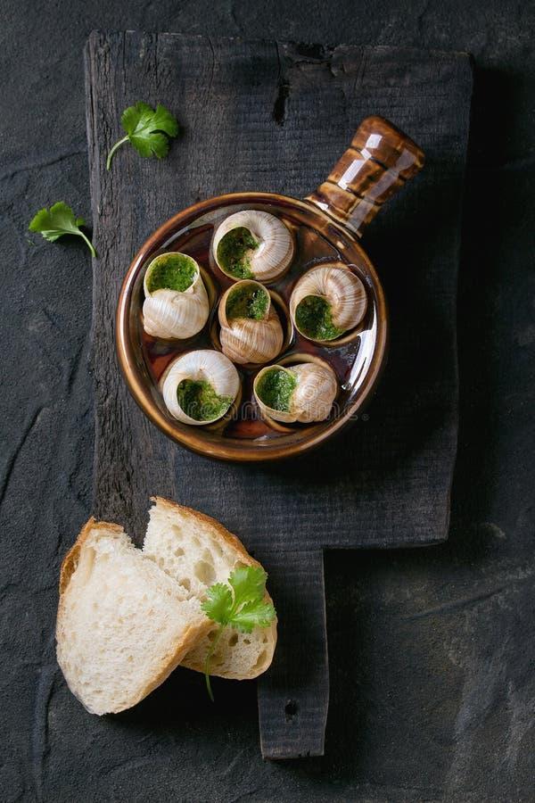 Caracóis prontos para comer de Escargot de Bourgogne imagens de stock