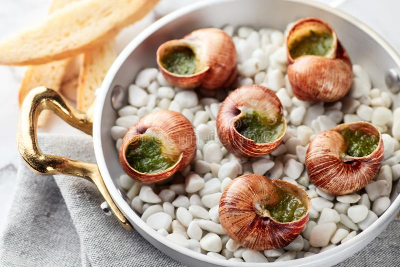 Carac?is do escargot com manteiga de ervas do alho foto de stock royalty free