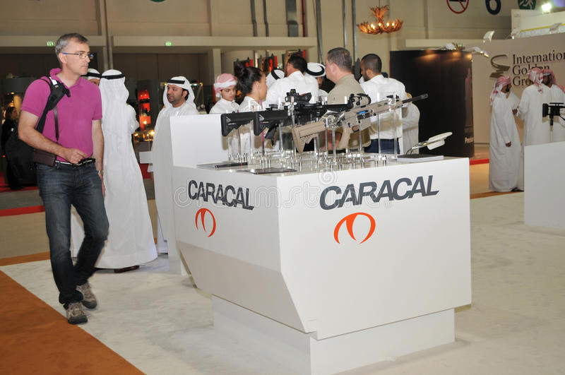 Caracal weaponry pavilion at Abu Dhabi International Hunting and Equestrian Exhibition 2013. Caracal weaponry pavilion at Abu Dhabi International Hunting and royalty free stock photography