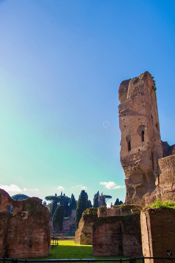 Caracalla barhs. Majestic complex of Caracalla baths, roman thermae in Rome, Italy royalty free stock photo