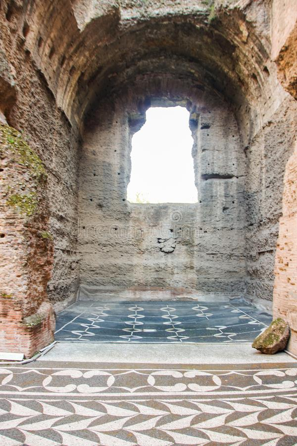 Caracalla baths. ATROME ON 01/06/2018 Majestic complex of Caracalla baths, roman thermae in Rome, Italy stock images