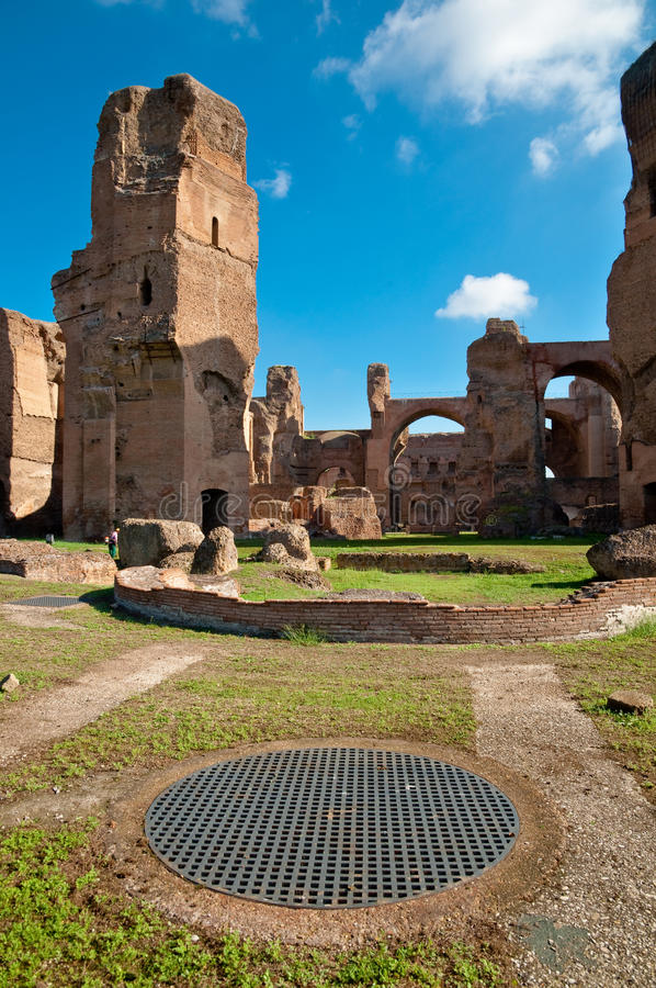 Caracalla springs ruins and grating at Rome. Italy stock image