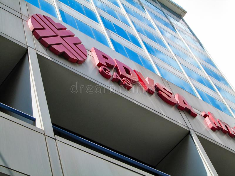 Caracas. Iconic state gas company of the Bolivarian Republic of Venezuela, PDVSA GAS, which is part of the PDVSA oil company. Caracas, Venezuela.Iconic state gas royalty free stock image