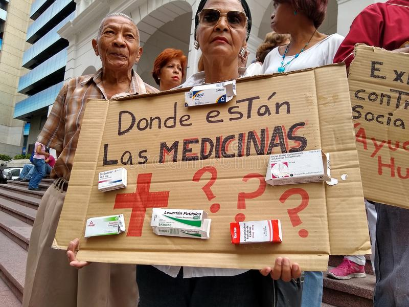 Protest in Caracas medicine shortage and humanitarian aid. Caracas/Venezuela, April 2019: Venezuelans protested at the Red Cross headquarters in Caracas accusing stock image
