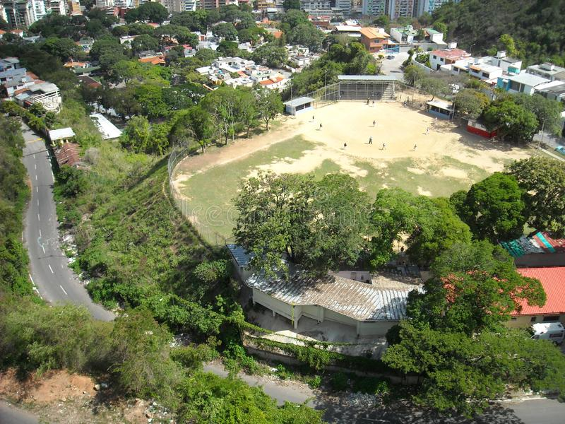 Caracas Venezuela. Baseball field seen from above which is close to the San Agustin neighborhood.  royalty free stock photography