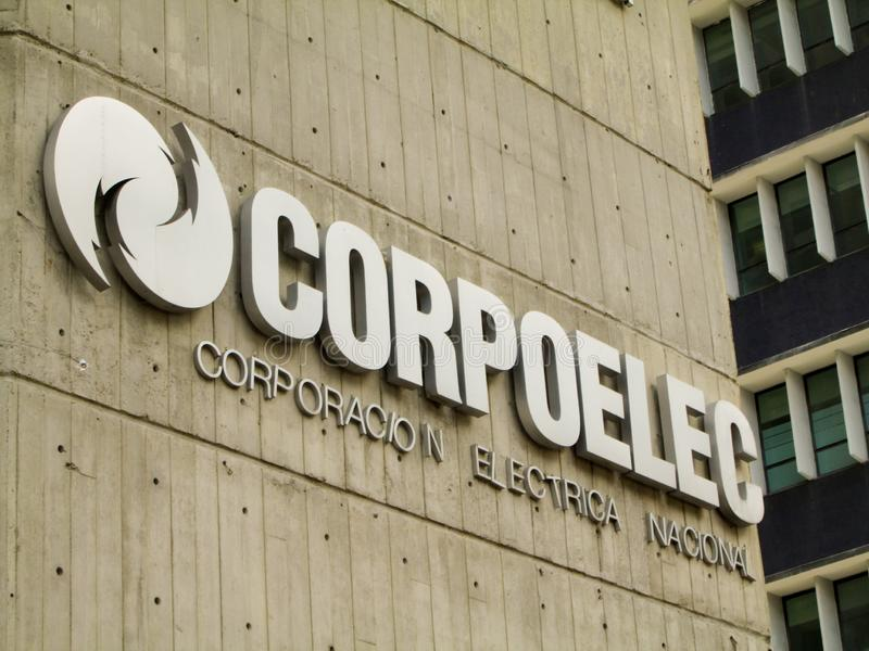 Caracas, Venezuela.Iconic and controversial state-owned company of the Bolivarian Republic of Venezuela, CORPOELEC.  stock photography