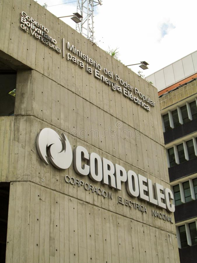 Caracas, Venezuela.Iconic and controversial state-owned company of the Bolivarian Republic of Venezuela, CORPOELEC.  stock photo