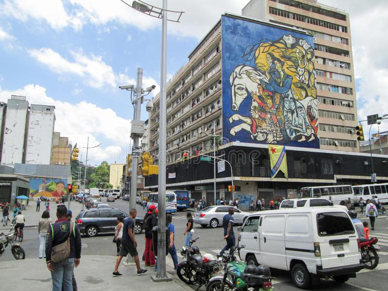 Caracas, Venezuela.Iconic places of the Center of Caracas in which buildings decorated with murals are seen.  royalty free stock photo