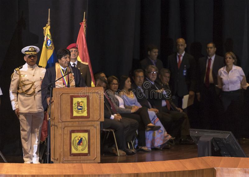Evo Morales Ayma, President of the Plurinational State of Bolivia, delivers a speech royalty free stock images