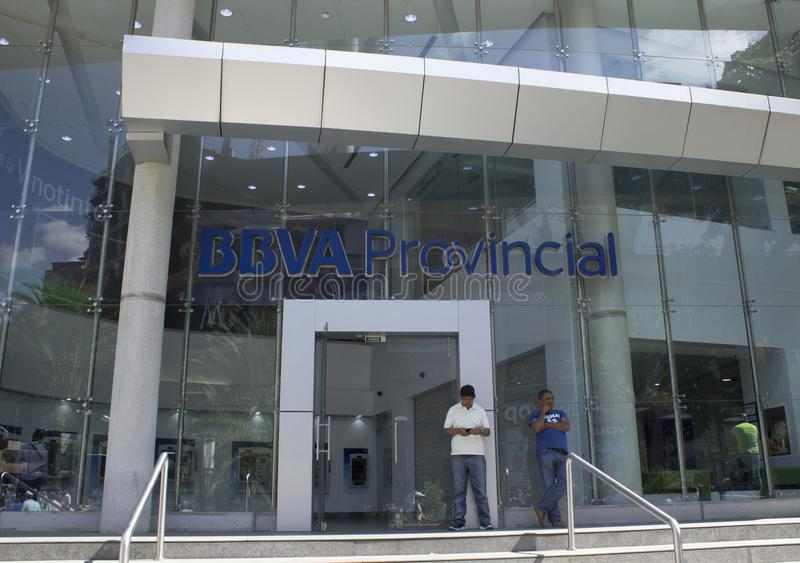 Exterior of BBVV Provincial Bank in Caracas, Venezuela. Caracas/Venezuela, January 03, 2019: Exterior of BBVV Provincial Bank one of the main banks in Venezuela stock image